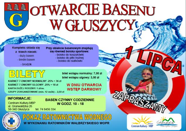 plakat basen w Gluszycy