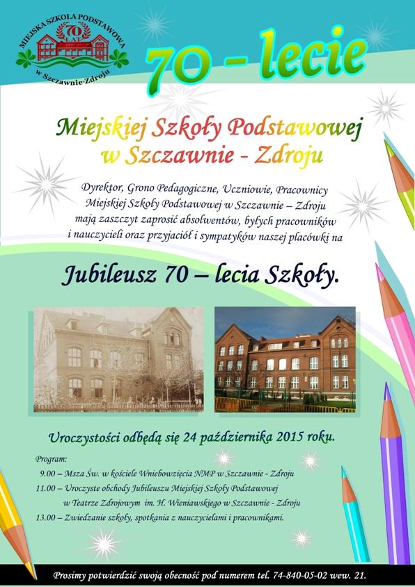 plakat 70 lecie szkoly