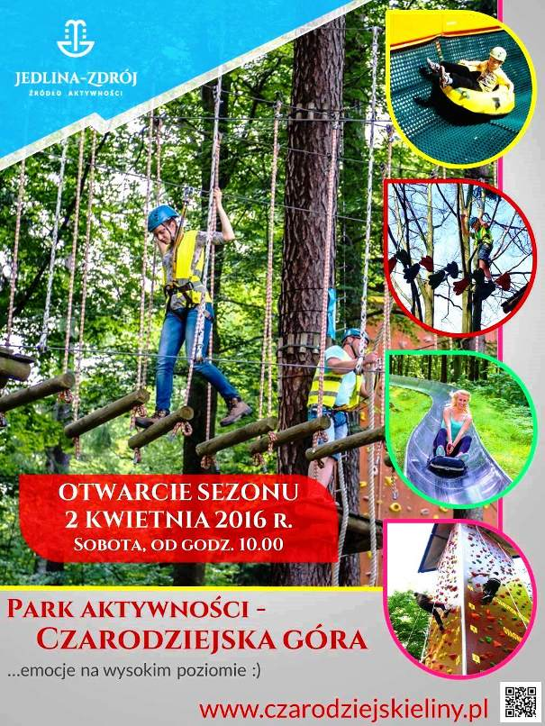 Plakat Parku Linowego 2016- otwarcie 02.04.2016